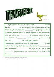English Worksheets: Tyrannosaurus Rex Closure