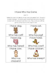 English Worksheets: I Have Who Has Animal Game