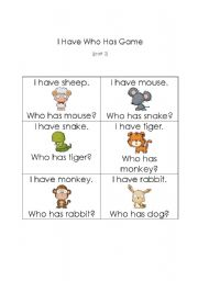 English Worksheets: I Have Who Has Animal Game Part 2