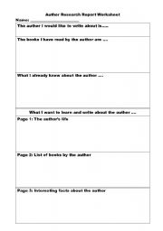 English Worksheets: Author Research Report Worksheet