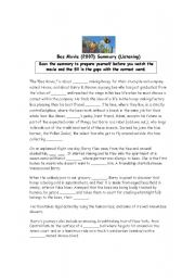 English Worksheet: Bee Movie Summary gapfill to be used for listening