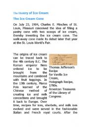 English Worksheet: The History of Ice Cream