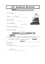 English Worksheet: 100 Reading Minutes weekly log