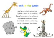 English Worksheets: A walk in the jungle (action rhyme)