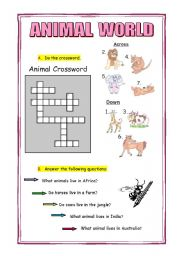 English Worksheets: ANIMAL WORLD