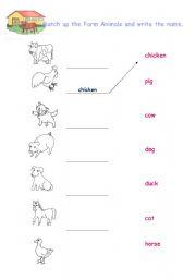 English Worksheets: Farm Animals - Easy
