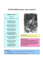 English Worksheets: WORD ORDER (nouns, verbs, modifiers)