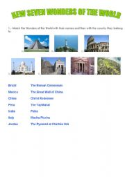 English Worksheet: The new seven wonders of the world