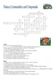 English Worksheets: Houses, communities and compounds - Crossword