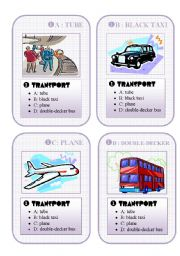 English Worksheet: BRITAIN GO FISH CARD GAME - set 1  - transport