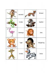 English Worksheets: Animal Match Up