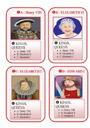 English Worksheet: BRITAIN GO FISH CARD GAME - set 6- kings and queens