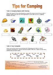 English Worksheet: Tips for Camping
