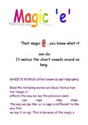 English Worksheets: The magic ´e´