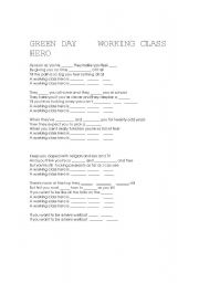 English Worksheets: working class hero green day