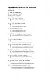 English Worksheet:  Affirmative, Negative and Questions