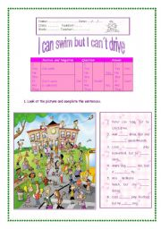 English Worksheet: I can swim but I can´t drive