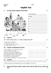 English Worksheet: Compare the members of the family
