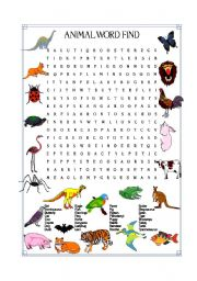 English Worksheets: ANIMAL WORD FIND