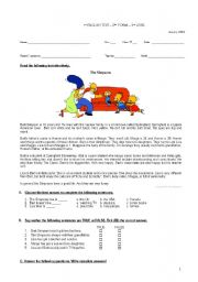 English Worksheets: Written test- reading comprehension