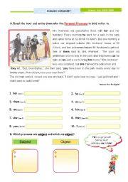 English Worksheet: Personal pronouns (Subject and Object) + Reflexive pronouns