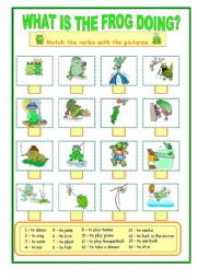 English Worksheet: What is the frog doing ....