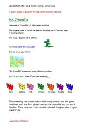 English Worksheets: FUN WITH COLOURS - A CROCODILE GAME