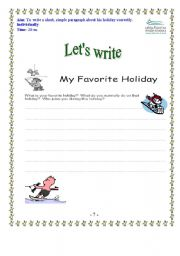 English Worksheets: writing for my holiday