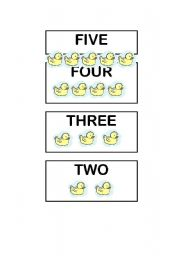 English Worksheet: Five little ducks Flash-cards