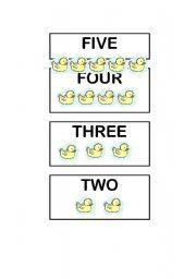 English Worksheet: Five little ducks Flash-cards