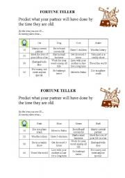 English Worksheet: FUTURE PERFECT - FORTUNE TELLER