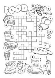 English Worksheet Food Crossword 2
