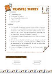 English Worksheet: Roasted turkey recipe