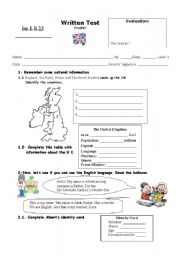 English Worksheet: Test for beginners - 5th form