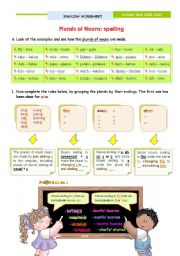 English Worksheet: Plurals of Nouns - Spelling
