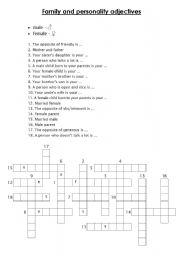 English Worksheet: Family and personality adjectives - crossword