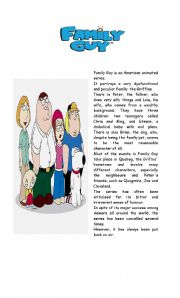 English Worksheets: Family Guy Reading Comprehension