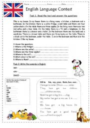 English Worksheet: Contest for the 5th grade students