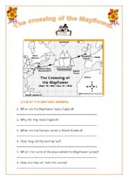 English Worksheets: THE CROSSING OF THE MAYFLOWER_THANKSGIVING