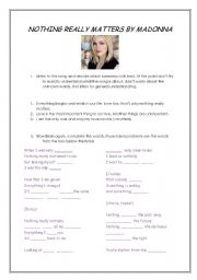 English Worksheets: Nothing Really Matters by Madonna