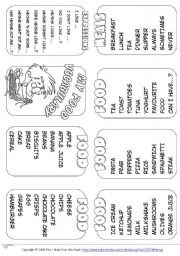 English Worksheet: My Food Vocabulary - Mini Book