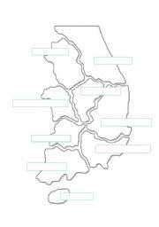 English Worksheet: South Korea Province Map