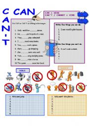 English Worksheet: CAN and CAN´T