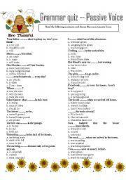 English Worksheet: GRAMMAR QUIZ ---  PASSIVE VOICE