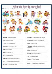 English Worksheet: WHAT DID THEY DO YESTERDAY?