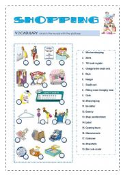 English Worksheets: Shopping 4 skills lesson 1/2