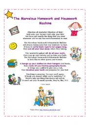 English Worksheet: The Marvelous Homework Machine ( funny poem)