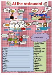 English Worksheet: Ordering at the restaurant