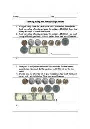 counting money and making change worksheet esl worksheet by pkgarrett21. Black Bedroom Furniture Sets. Home Design Ideas