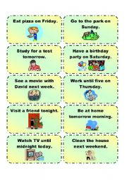 English Worksheet: GOING TO  practice cards 1/3